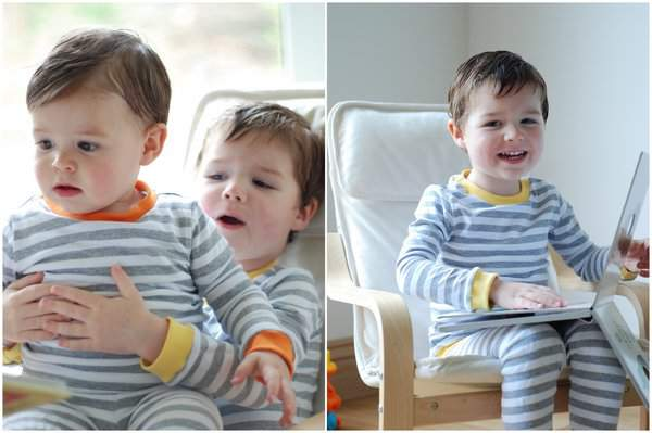 Casper and Rowan in jim jams