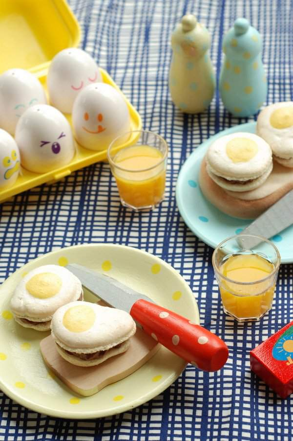 Fried egg macaron tea party