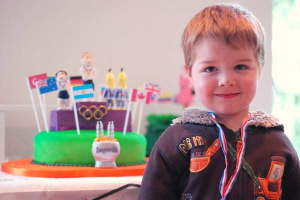 Casper with Olympic Podium Cake