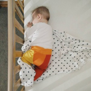 Napping in the fancypantsleggings I made for the original tutorial