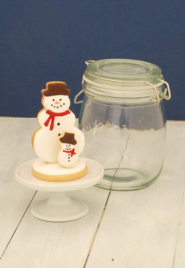 Mini Jam Jar Snowman Snowglobe