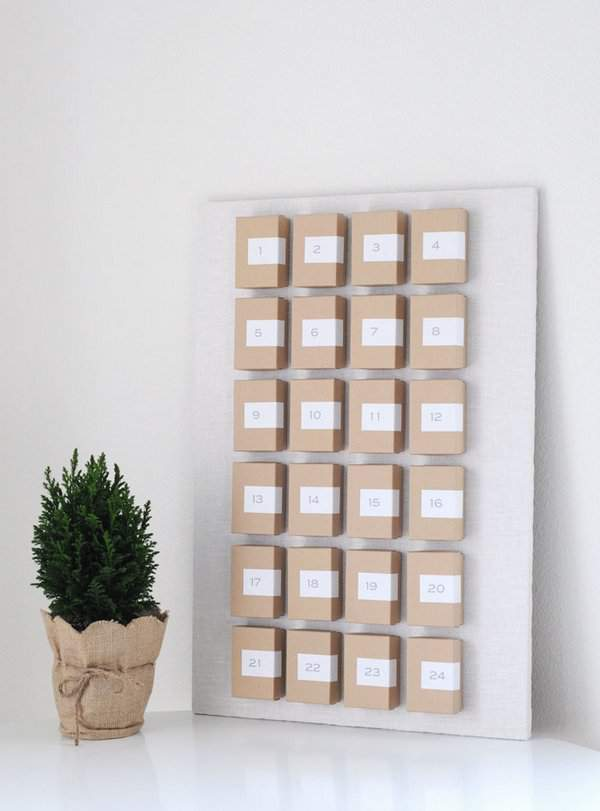 Minimalist craft box advent calendar