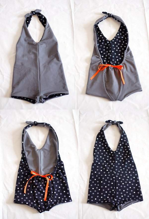 Fancy Pants Pattern adapted to a Reversible Swimsuit on Petit à Petit and Family