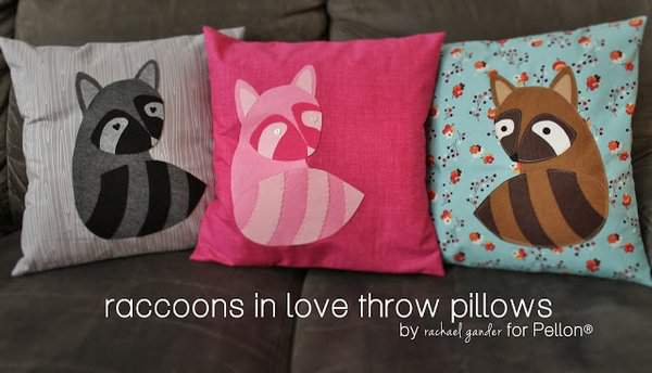 Raccoons in love throw pillows on Imagine Gnats