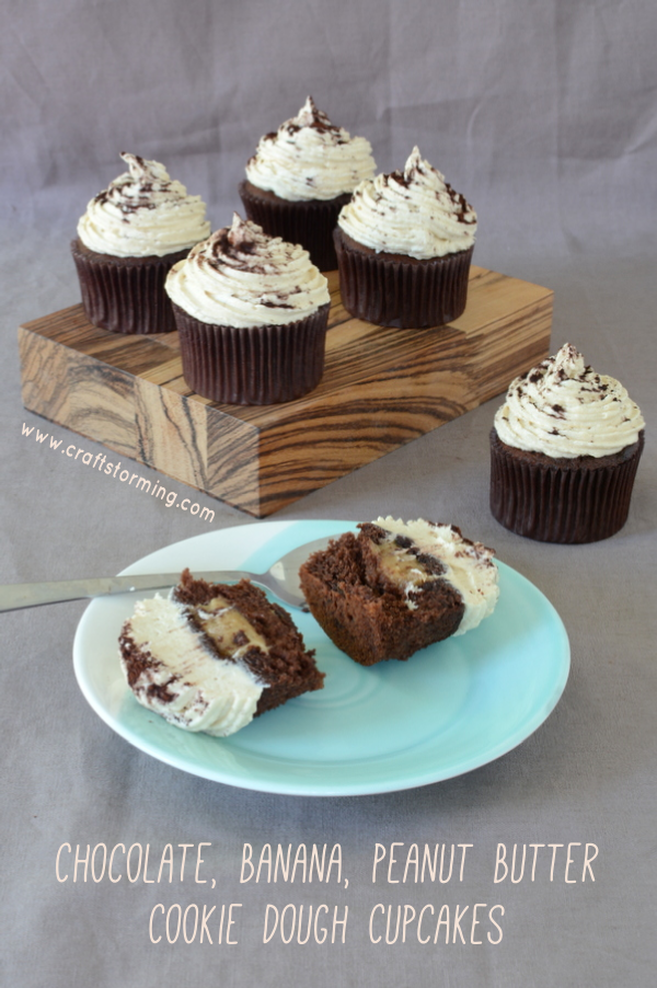 Chocolate, Banana, Peanut Butter Cookie Dough Cupcakes