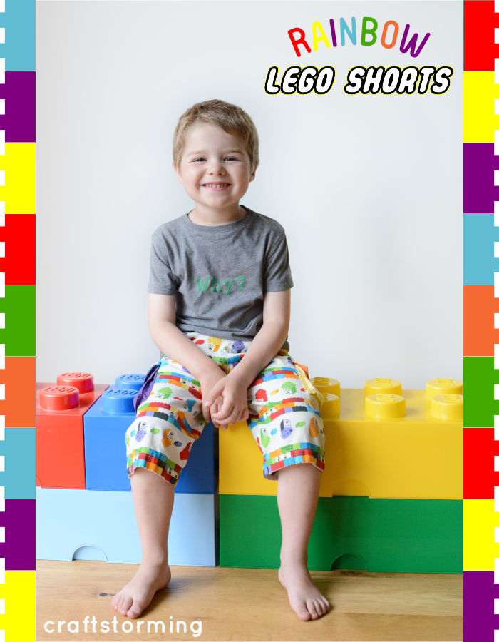Rainbow Lego Shorts by Craftstorming