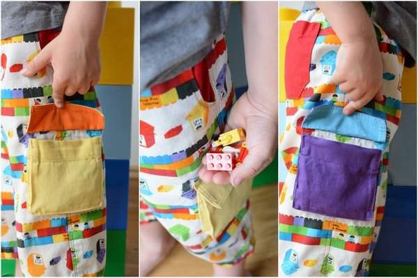 Rainbow Lego Shorts by Craftstorming - cargo pockets