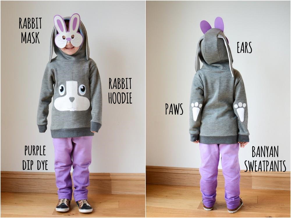 Rabbit Hoodie and Dip Dye Sweatpants Outfit Details