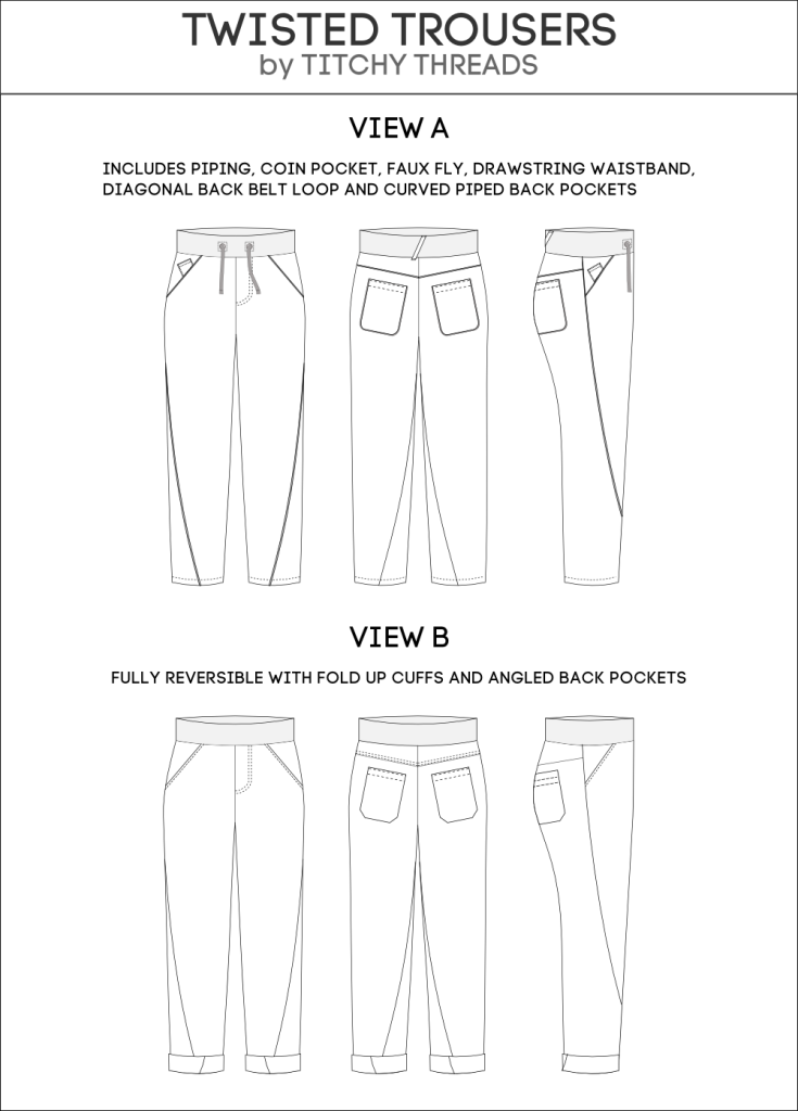 Twisted Trousers Illustrations, pattern by Titchy Threads