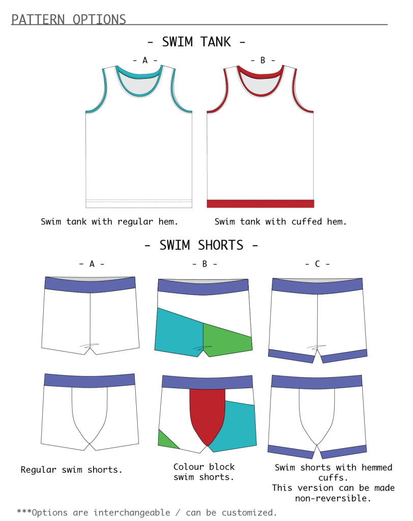 Cloud 9 swim shorts and tank line drawings