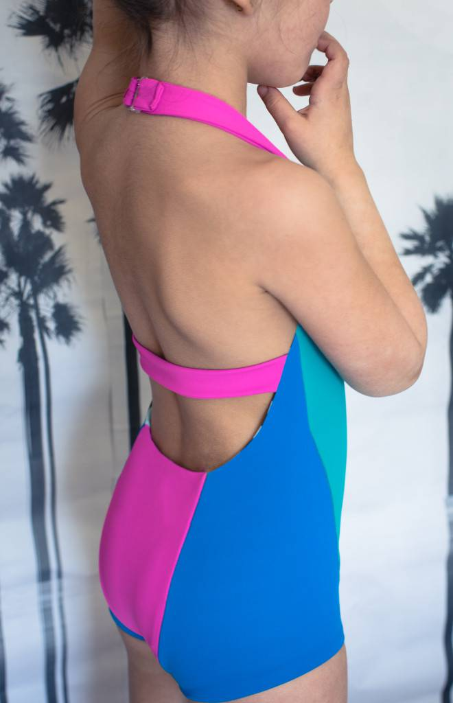 Azur Reversible Swimsuit with colour block, halter strap and back strap
