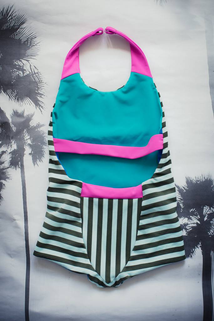 Azur Reversible Swimsuit with halter strap, additional back strap and colour block panel