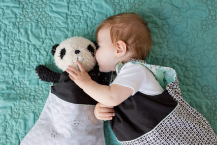 How cute is this?! Matching baby and panda softie sleepsacks in panda fabric!