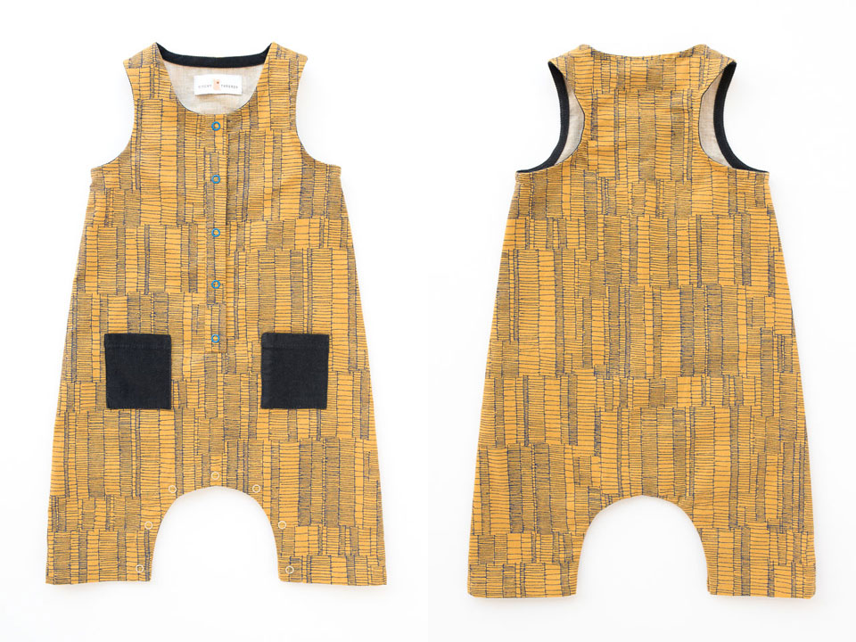 A front and back view of the Rain Dance Romper made for Sara's baby.