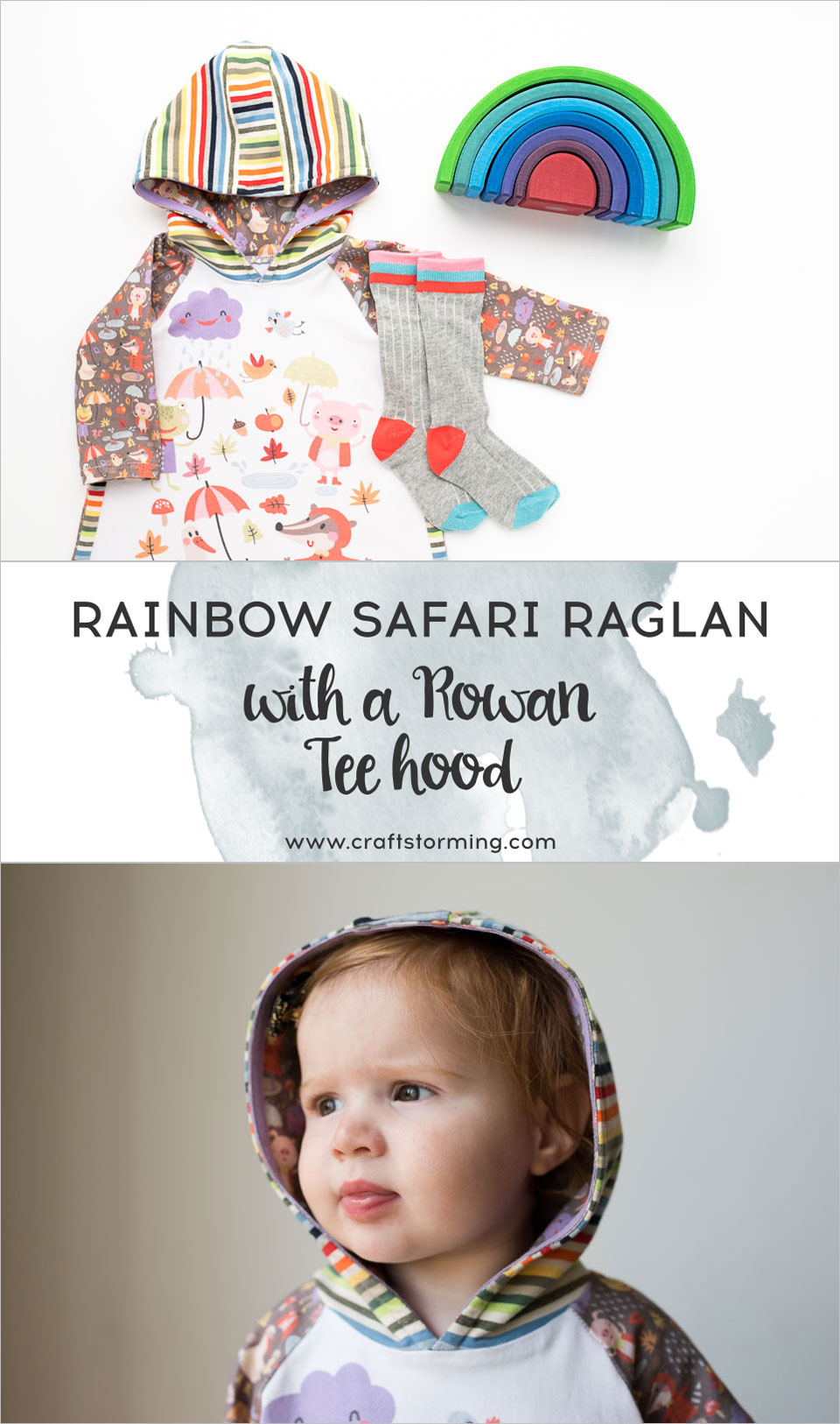 Rainy days rainbow dress. A mashup of the Safari Raglan dress with the Rowan Tee hood, both patterns by Titchy Threads.