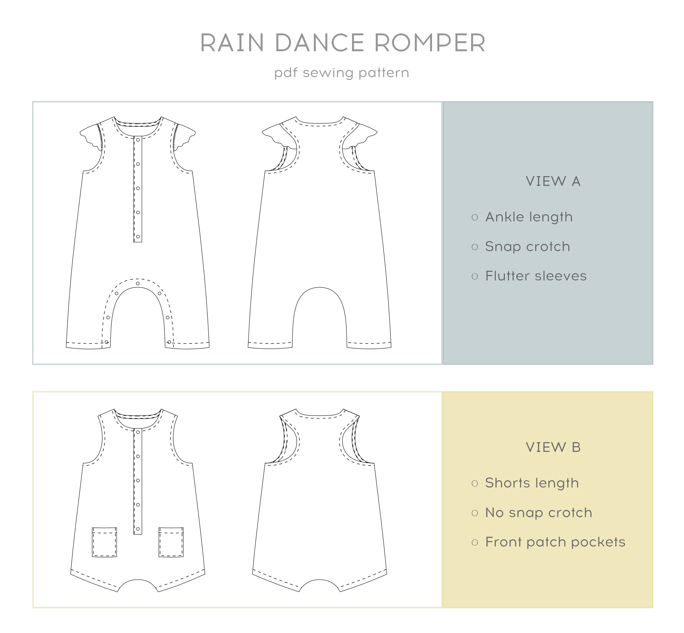A pdf sewing pattern for a sweet romper.