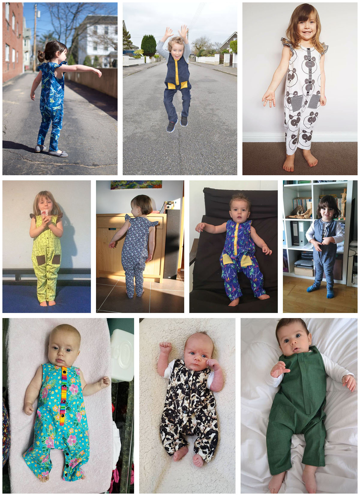 Rain Dance Romper pdf sewing pattern - testers collage 1