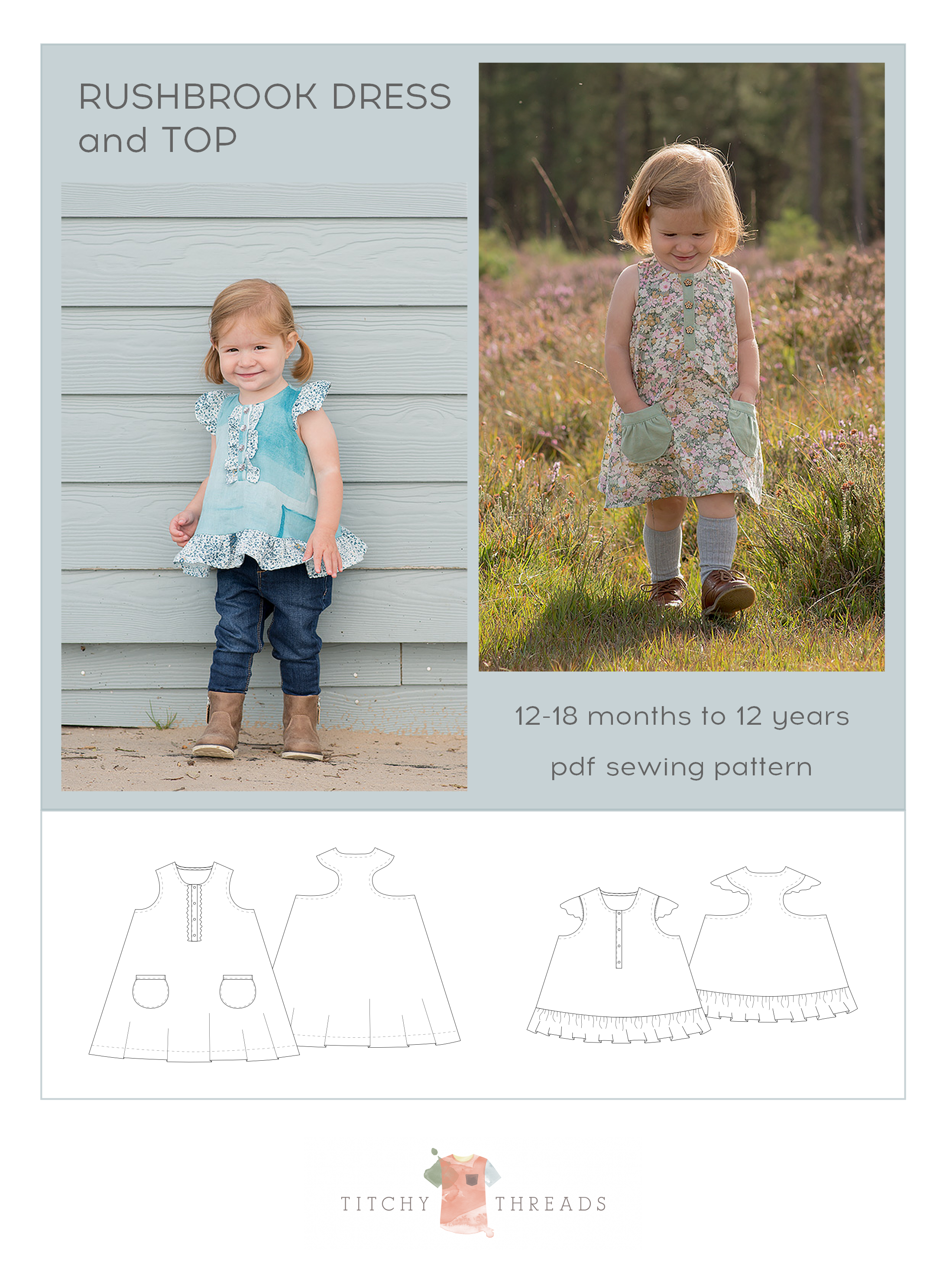 Rushbrook Dress and Top pdf sewing pattern by Titchy Threads