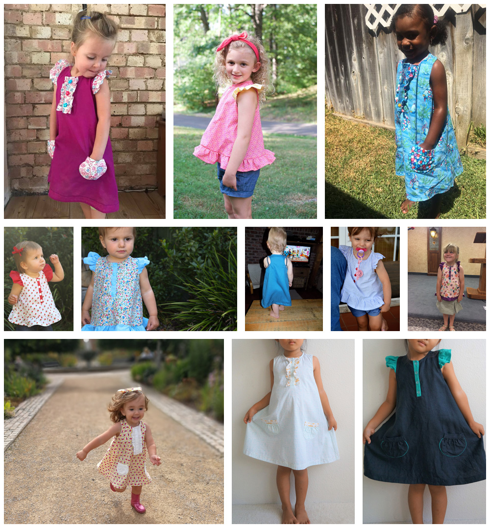 Rushbrook Dress and Top - pattern testers collage 1