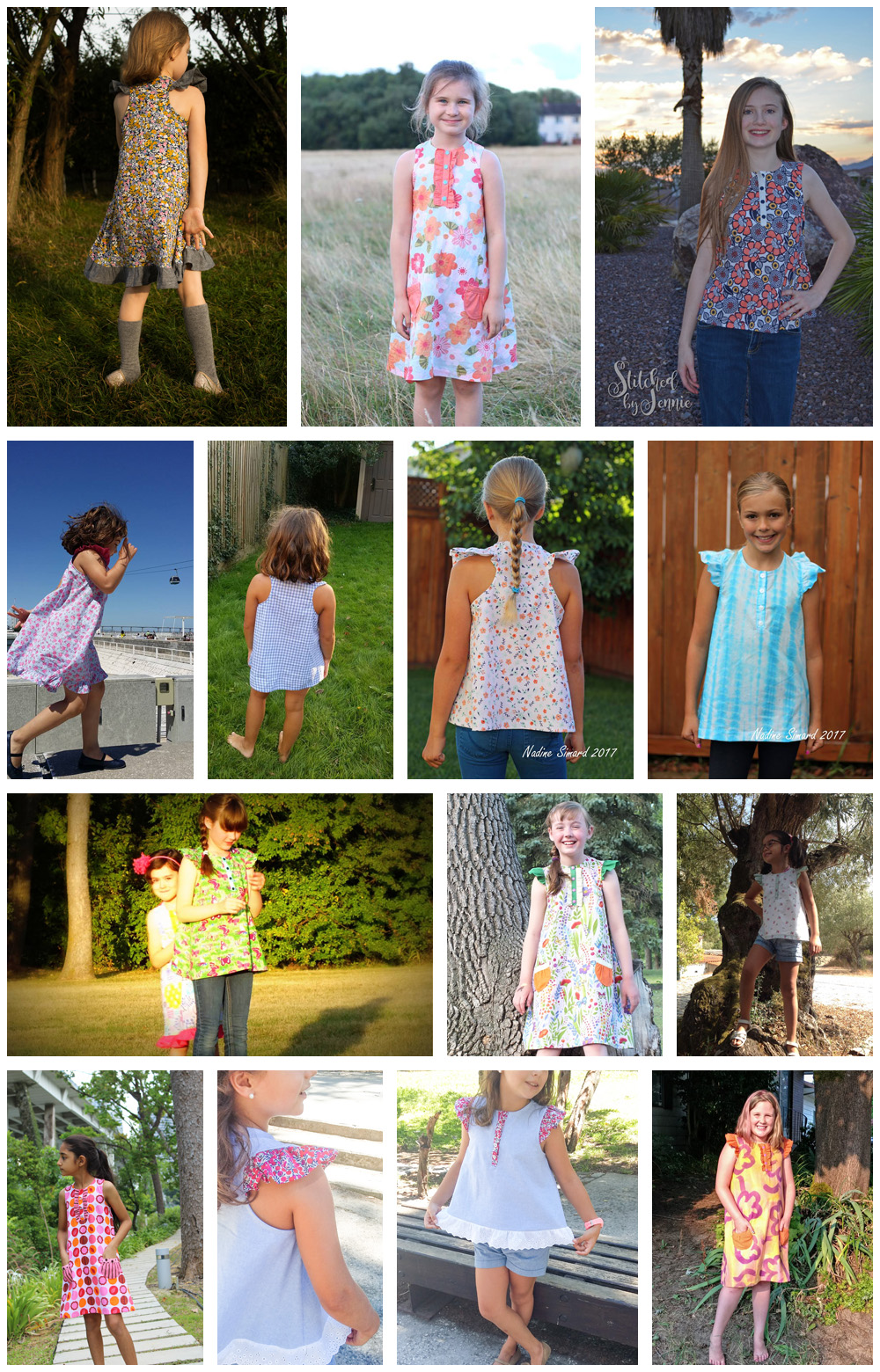 Rushbrook Dress and Top - pattern testers collage 2