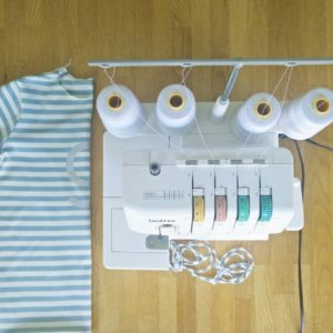 Sewing a birthday tee for my oldest in stripes whilehellip