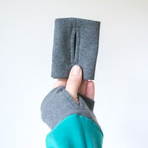 Sewing thumbhole cuffs while wearing thumbhole cuffs
