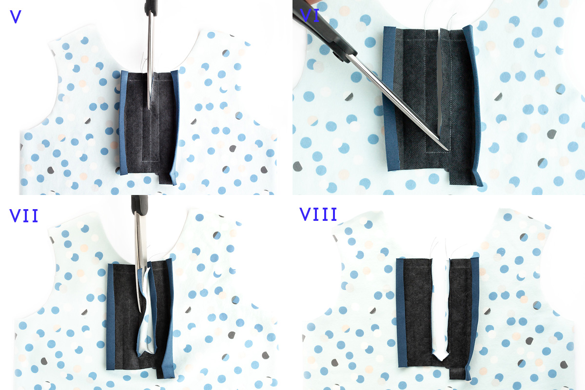 Placket sewing collage