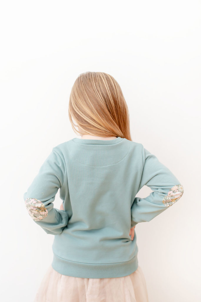 Quadrant Sweatshirt pdf sewing pattern by Titchy Threads - View B back facing and elbow patches