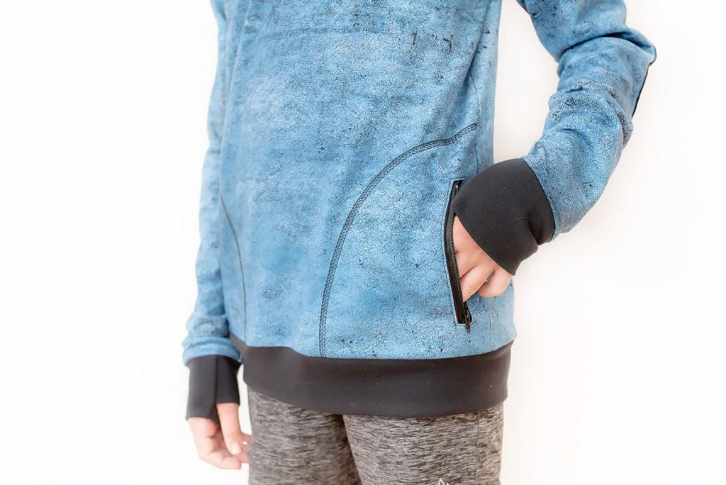Quadrant Sweatshirt pdf sewing pattern by Titchy Threads - View C zip pocket
